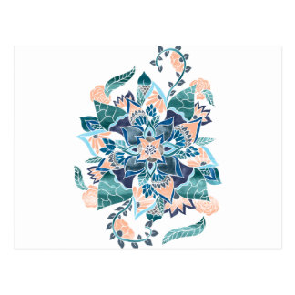 Carte Postale Illustration florale d'aquarelle bleue de corail