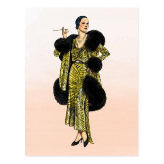 Carte Postale Illustration vintage de mode de couture de