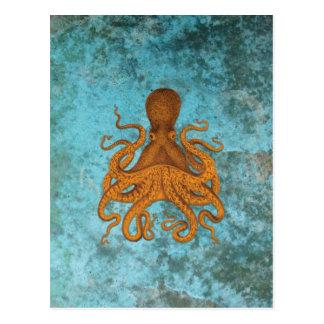 Carte Postale Illustration vintage de poulpe sur la turquoise