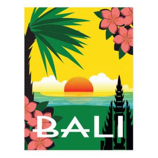 Carte Postale Illustration vintage de style de voyage de Bali