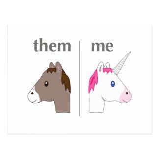 Carte Postale Ils contre moi âne contre la licorne drôle