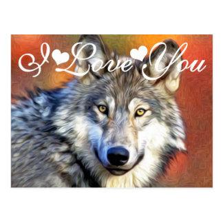 Carte Postale Image de photo de peinture d'art de loup gris je