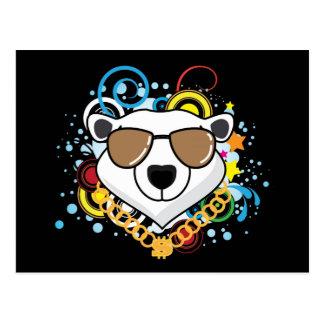 Carte Postale Image drôle d'ours blanc de hip-hop