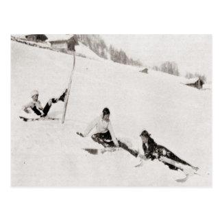 Carte Postale Image vintage de ski, dégringolant vers le bas