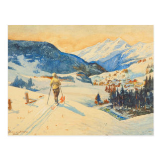 Carte Postale Image vintage de ski, pays croisé dans les