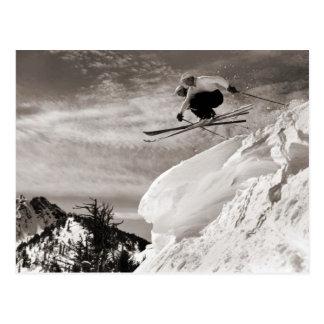 Carte Postale Image vintage de ski, sautant ensemble