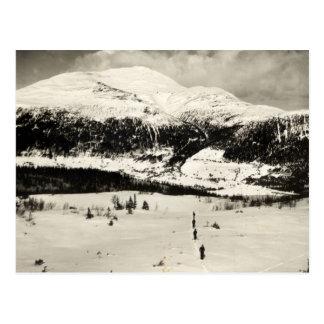 Carte Postale Image vintage de ski, skieurs dans la vallée