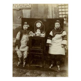 Carte Postale Image vintage, filles chinoises de thé
