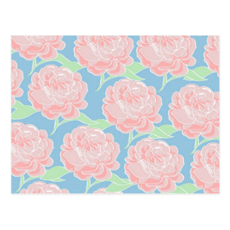 Carte Postale Impression florale assez Girly de rose en pastel