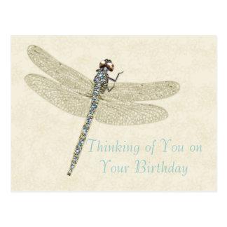 Carte postale incrustée de bijoux d'anniversaire