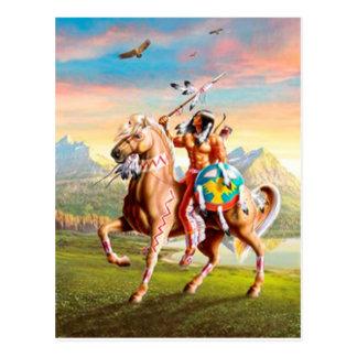 Carte Postale Indien d'Amerique courageux sur le cheval