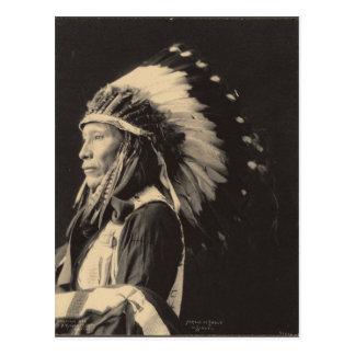 Carte Postale Indien vintage : Effrayé d'Eagle, Sioux -