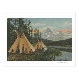 Carte Postale Indiens du nord-ouest - deux Teepees s'approchent