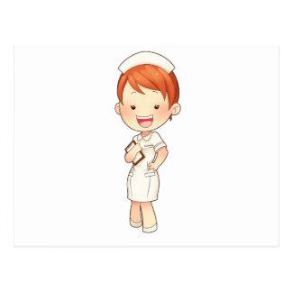 Carte Postale Infirmière traditionnelle de roux tenant le porte