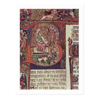 "Carte Postale Initiale de MMS 9961-2 Historiated ""B"" du Peterb"