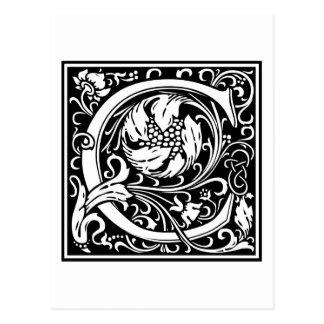 """Carte Postale Initiale décorative """"C"""" de lettre"""