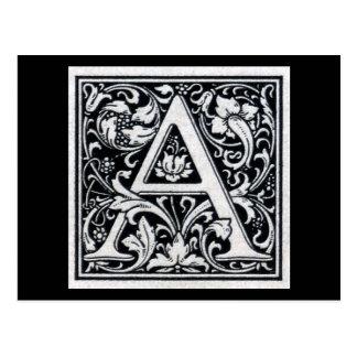Carte Postale Initiale décorative de bois de graveur de gravure