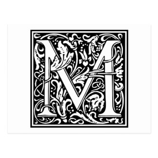 """Carte Postale Initiale décorative """"M"""" de lettre"""