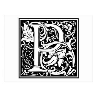 """Carte Postale Initiale décorative """"P"""" de lettre"""