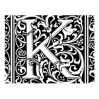 Carte Postale Initiale médiévale de cru de monogramme de la
