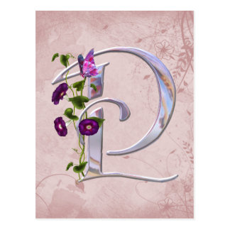 Carte Postale Initiale précieuse P de papillon