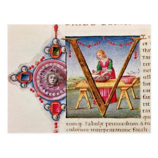"""Carte Postale Initiale """"V"""" de Historiated dépeignant"""