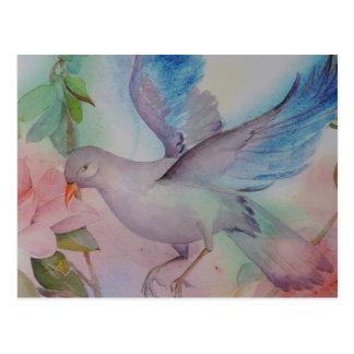 Carte Postale Inséparable dans le bleu et le rose