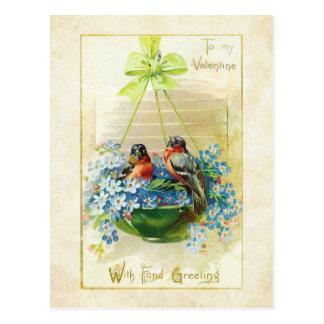 Carte Postale Inséparables vintages et myosotis des marais de