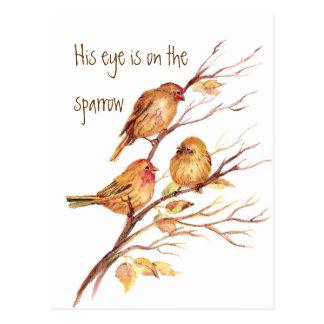 Carte Postale Inspiré son oeil est sur le moineau,