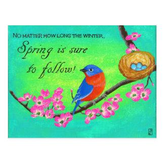 Carte postale inspirée d'oiseau bleu