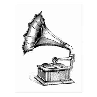 Carte Postale Instrument de musique vintage de tourne-disque de