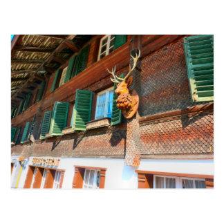 Carte Postale Interlaken, chalet en bois dans Unterseen