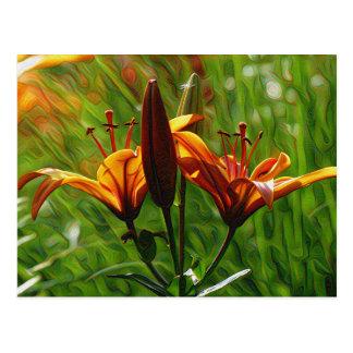 Carte Postale Iris, Lilly, lis, style de DeepDream