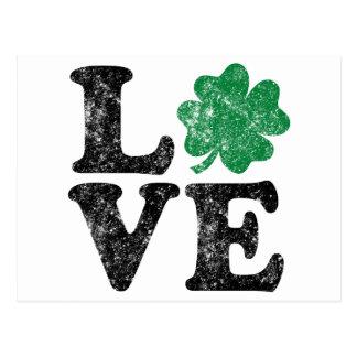 Carte Postale Irlandais de shamrock d'AMOUR du jour de St