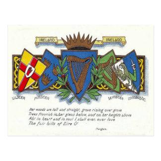 Carte postale irlandaise de provinces