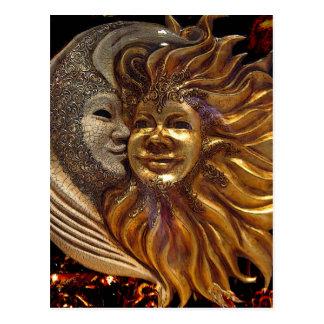 Carte Postale Italien Sun et masques de Carnaval de lune