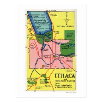 Carte Postale Ithaca et points voisins d'intérêt