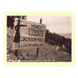 Carte Postale Jackson Hole, Wyoming, cru de panneau routier