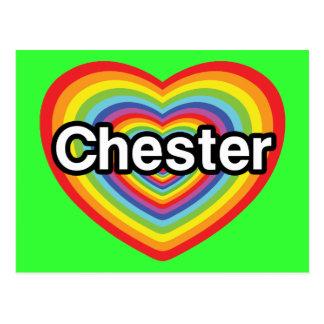 Carte Postale J'aime Chester : coeur d'arc-en-ciel