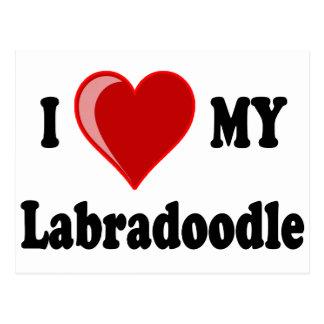 Carte Postale J'aime (coeur) mon chien de Labradoodle