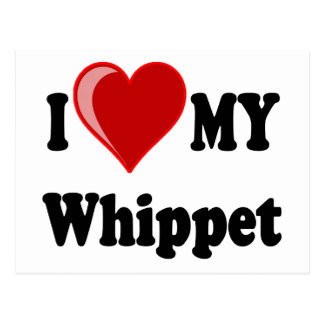 Carte Postale J'aime (coeur) mon chien de whippet