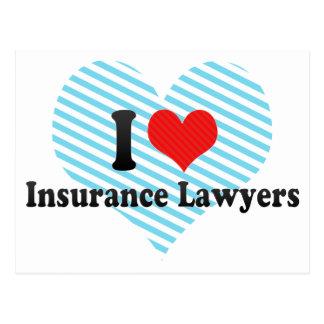 Carte Postale J'aime des avocats d'assurance