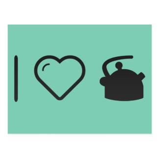 Carte Postale J'aime des bouilloires de thé