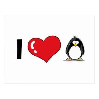 Carte Postale J'aime des pingouins