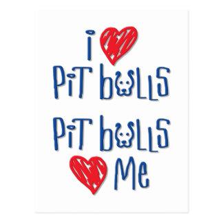 Carte Postale J'aime des pitbulls - les pitbulls m'aiment