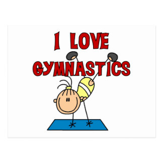 Carte Postale J'aime des T-shirts et des cadeaux de gymnastique