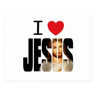 Carte Postale J'aime Jésus - coeur Jésus d'I avec l'image dans