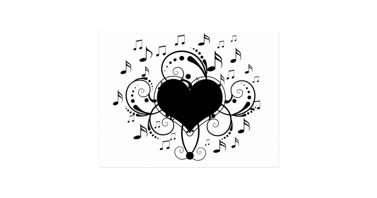 Carte Postale J Aime Le Coeur De Notes De Musique Noir Et Blanc