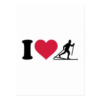 Carte Postale J'aime le ski de fond