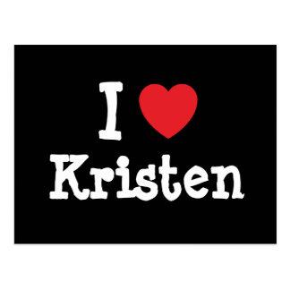 Carte Postale J'aime le T-shirt de coeur de Kristen